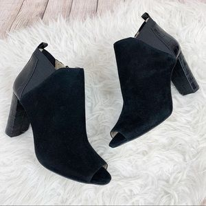 NWOB MARC FISHER Suede Peeptoe Bootie Leather Cute